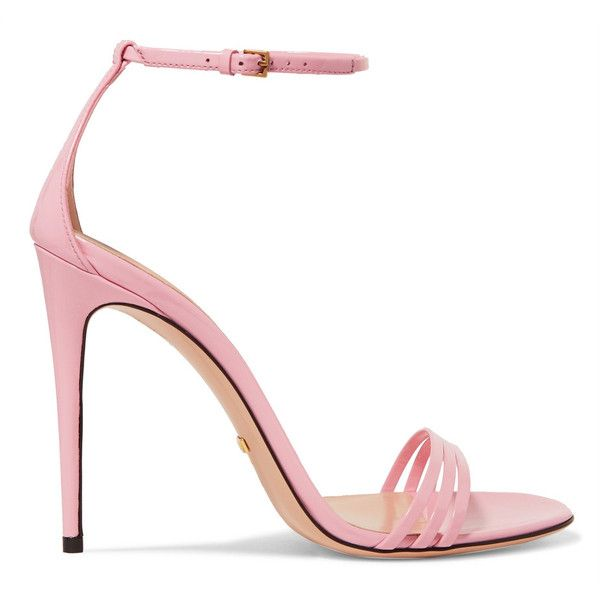 Gucci Patent-leather sandals (£480) ❤ liked on Polyvore featuring shoes, sandals, heels, gucci, baby pink sandals, strap heel sandals, high heel sandals, pink shoes and pink heeled sandals