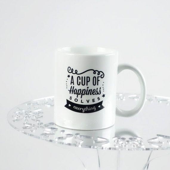 Tazza da the, tisana, cioccolata o caffè americano in finissima porcellana bianca della JOY COLLECTON firmata BLUVANILLA. #mug #graphicdesign #happiness #collection