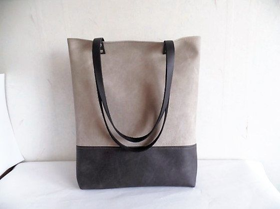 Large vegan leather tote bag