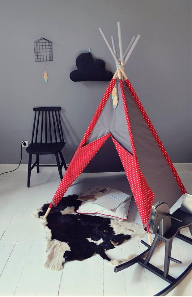 littlenomad teepee tipi wigwam play tent handmade red gray white stars kidsroom https://www.facebook.com/HelloLittleNomad