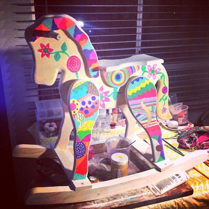 Mis caballos mecedores de madera! Unicos, solo uno porque son pintados solo de a uno! www.lubawaserman.com