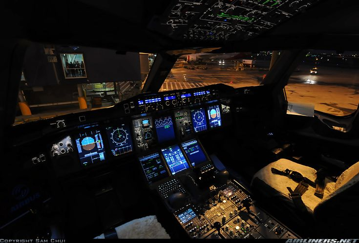 The cockpit of an Emirates A380-861 Night-parked at Sydney