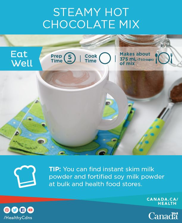 Make a big batch of this mix and enjoy this yummy hot chocolate on cold winter days! Get the recipe here: http://www.healthycanadians.gc.ca/eating-nutrition/healthy-eating-saine-alimentation/recipes-recettes/hot-chocolat-chaud-eng.php?utm_source=pinterest_hcdns&utm_medium=social_en&utm_content=feb9_hotchoc&utm_campaign=social_media_14