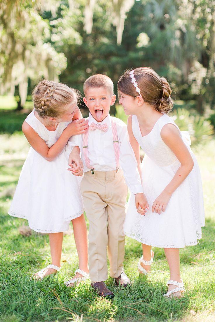 Southern ring bearer charleston wedding Tan and Pink Color Theme