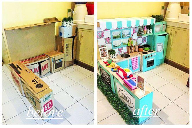 Aprenda como fazer uma casinha de brinquedo com a inspiração de uma mãe que montou uma cozinha de papelão para sua filha se divertir!
