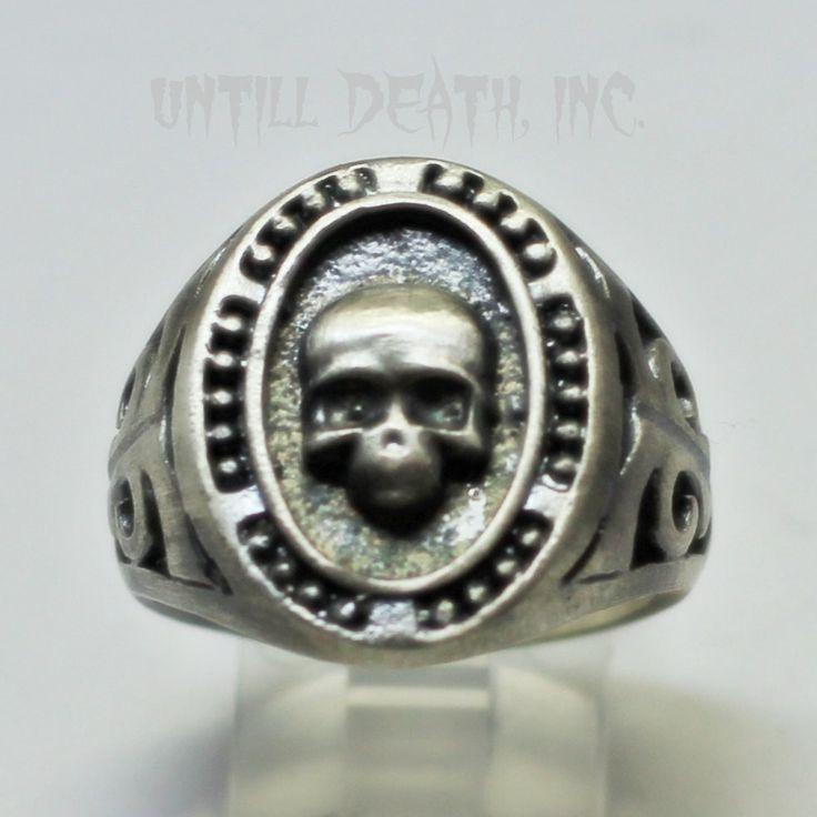 Until Death, Inc. Custom Men's Memento Mori Beaded Skull Ring. Heavy 925 Stamped Sterling Silver. All Men's US Sizes.-UDINC0031