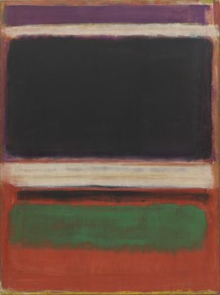 Mark Rothko. No. 3/No. 13. 1949.  Magenta, Black, Green on Orange follows a compositional structure that Rothko explored for twenty–three years beginning in 1947.