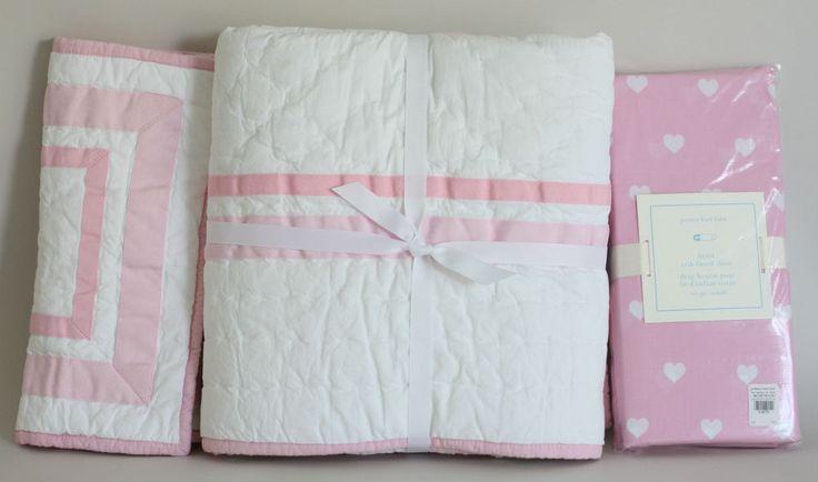 Pottery Barn Kids Girls Pink Harper Nursery Quilt + Sham + Pink Heart Crib Sheet #PotteryBarnKids