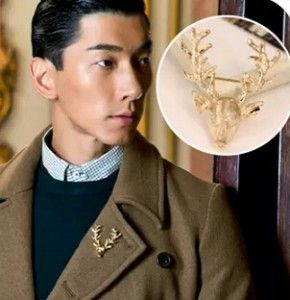 0.51$  Watch more here - European and American vintage jewelry brooch Peacebird horned elk deer head deer brooch men and women free shipping   #magazineonline