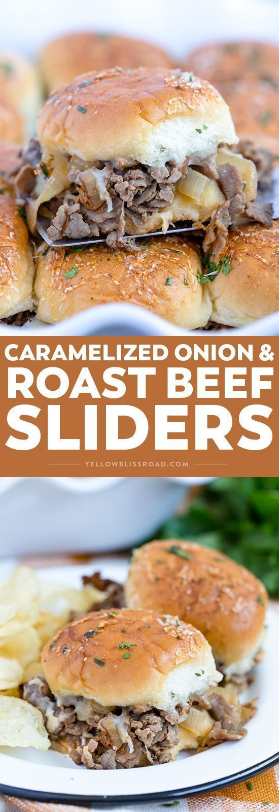 Caramelized Onion & Asiago Roast Beef Sliders will win game day! Mini baked sandwiches that are perfect for feeding a crowd or dinner for your family.