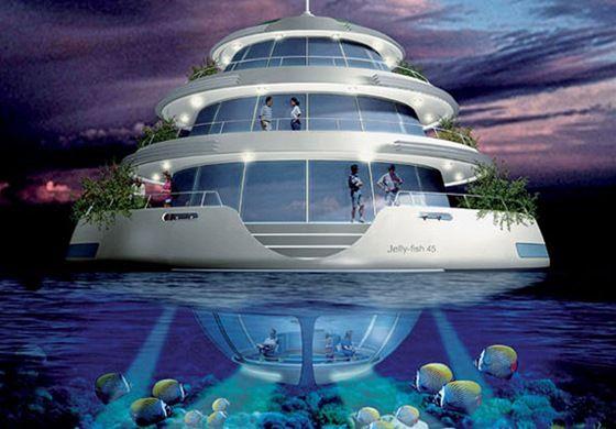 Vizualizace luxusního plovoucího letoviska poblíž Kataru