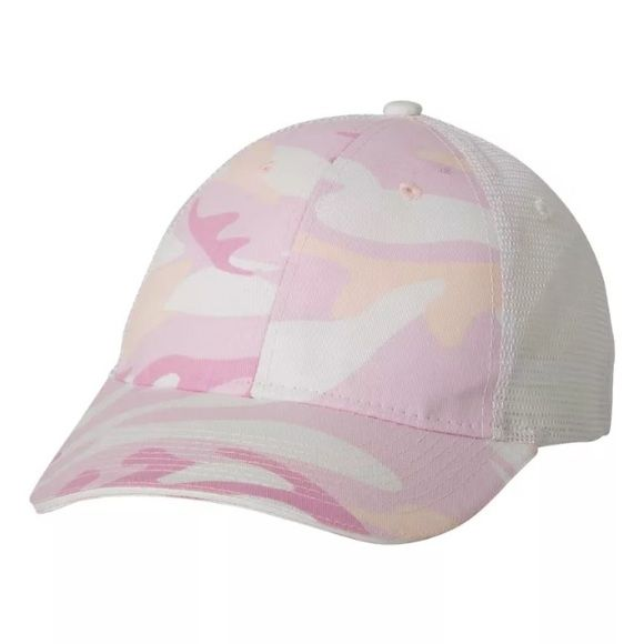 Pink camo baseball cap 100% cotton twill with polyester mesh back Structured, six-panel, mid-profile Velcro® closure Valucap Accessories Hats