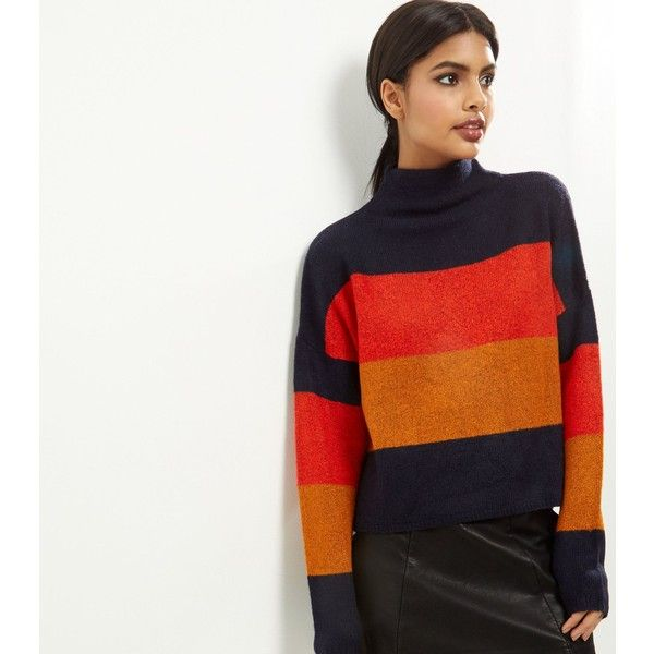 New Look Black Colour Block Stripe Turtle Neck Cropped Jumper (€29) ❤ liked on Polyvore featuring tops, sweaters, multicolour, turtle neck top, multi color sweater, turtle neck sweater, polo neck sweater and turtle neck crop top