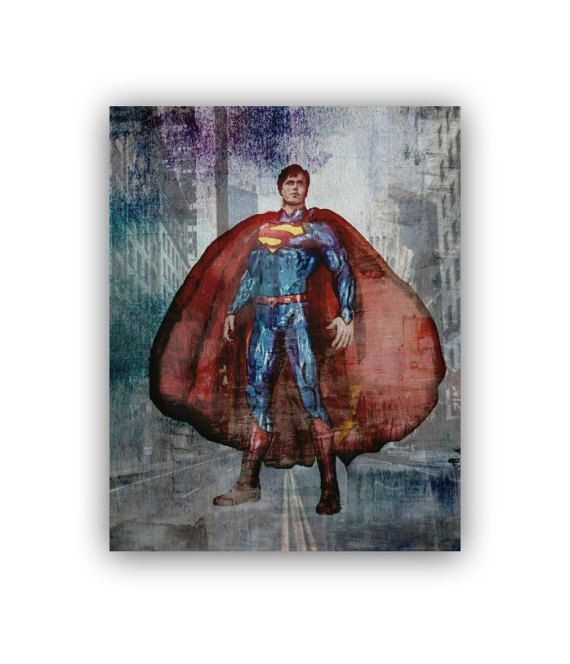 Superman Print Superhero Boys Room Art Superman by handpainting