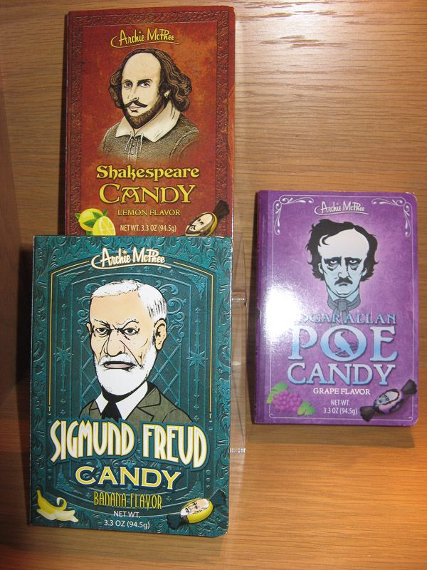 Susan Says: We've always had a soft spot for Lifesaver Candy Books, but these are even whackier. Sigmund Freud (banana flavour), Edgar Allan Poe (grape) and Shakespeare (lemon). Delicious hard candy with picture of the famous guy on the wrapper. Yup, that's whacky.  Available at Best of Friends Gift Shop in the lobby of Winnipeg's Millennium Library. 204-947-0110 info@friendswpl.ca