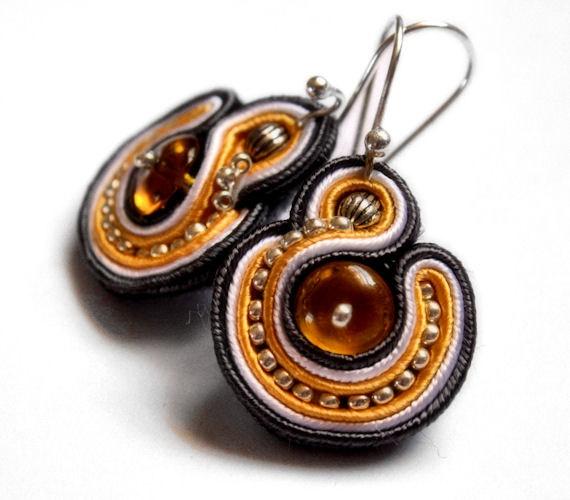 silver grey and yellow mini soutache earrings by KimimilaArt