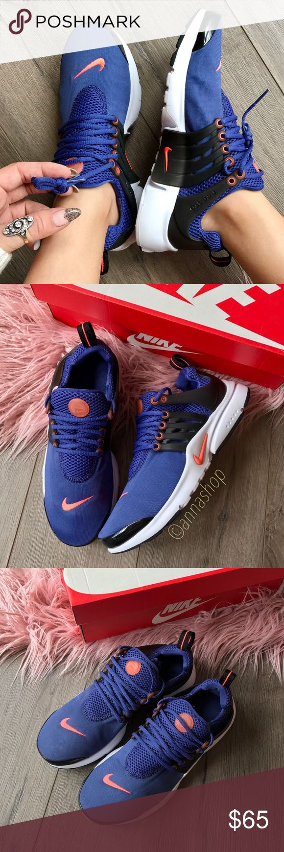 NWT Nike Air Presto 🌏 Brand new with box, price is firm. Want a shoe that has all the timelessness and comfort of your favorite T-shirt? Look no further than the Nike Air Presto. With a molded lacing component and comfortable stretch-mesh upper, you'll have support and flexibility where you need them most. The Phylon™ midsole and Air-Sole® unit add lightweight cushioning for all of your everyday activities.size 5Y-Women's 6.5. Size 6Y-Women's 7.5 Nike Shoes Sneakers