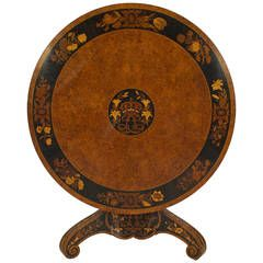 Important Marquetry Inlaid Amboyna Center Table Attributed to George Blake & Co