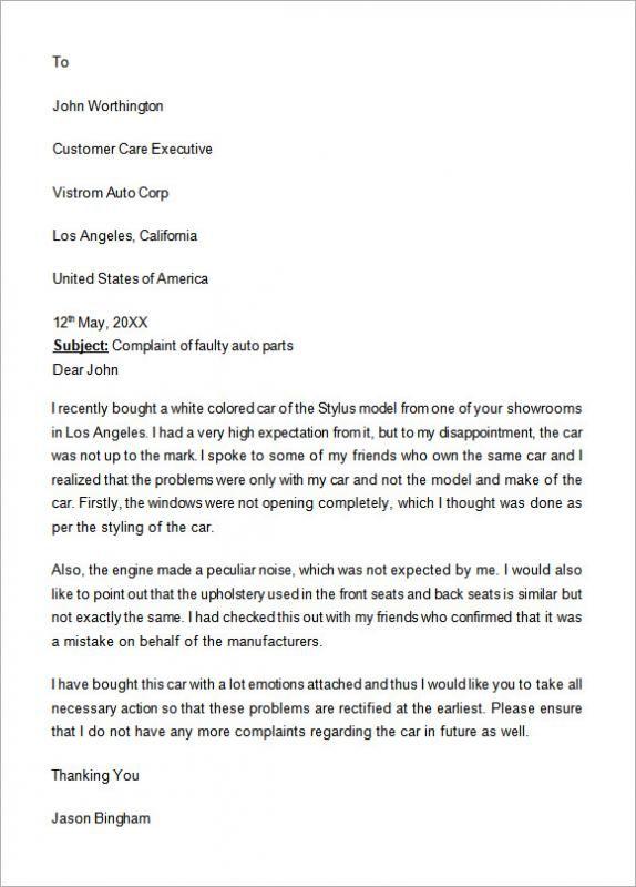 Formal Complaints Letter With Images A Formal Letter