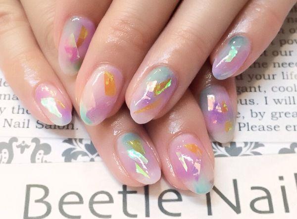 Nail Art - Beetle Nail : 八幡|オーロラアート #ネイル #ビートル近江八幡 #ビートルネイル #ネイル近江八幡
