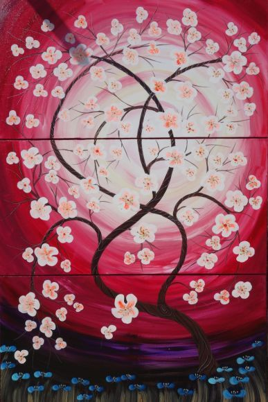 Cherry #blossom 54 florals #painting flowers #decor #original floral art 100x150x2 cm stretched #canvas #acrylic #sakura #art #spring #red #purple #pink wall #art by #artist Ksavera
