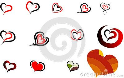 Vector Illustration many hearts, handdraw.