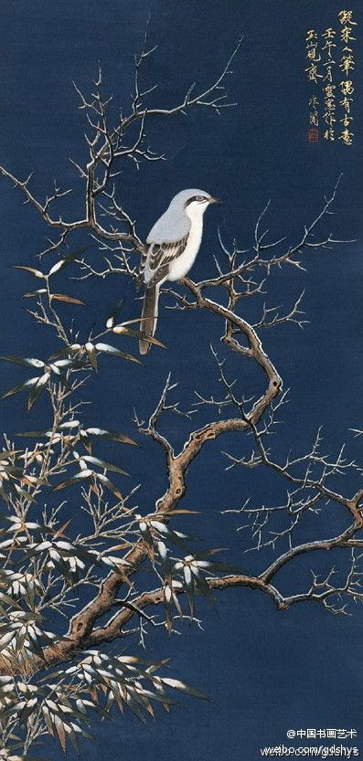 "In non-dark ""snow tree cold bird map"" --- FeiChang meticulous flower by the academy of traditional to modern artists."