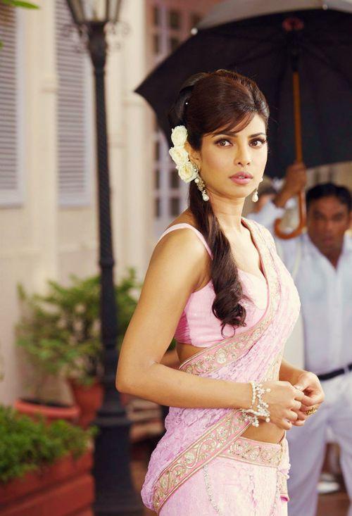 priyanka chopra in pink saree