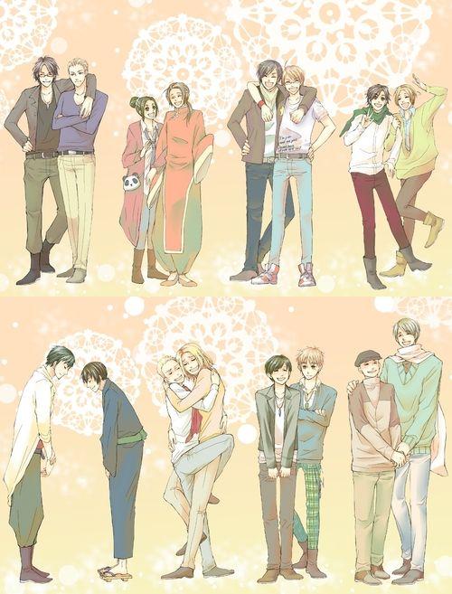 Hetalia x Seiyuu. Characters with their Japanese Voice Actors. The voice actors are (Left to right) : Hiroki Yasumoto, Yuki Kai, Katsuyuki Konishi, Daisuke Namikawa, Hiroki Takahashi, Masaya Onosaka, Noriaki Sugiyama and Yasuhiro Takayo.