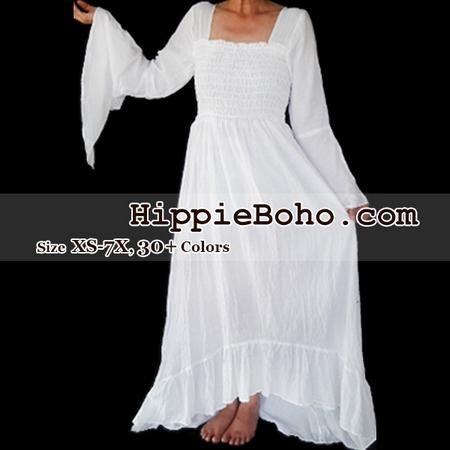 0298badf07e No.349 - Size XS-7X Hippie Boho Gypsy Bohemian Bell Wide Sleeve White Maxi  Dress Plus Size Women s Long Dress