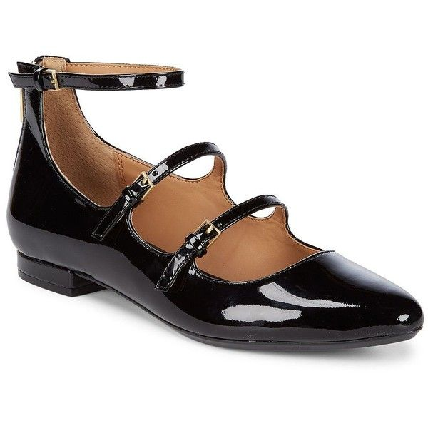 Calvin Klein Women's Gavinia Patent Leather Mary Jane Flats (€58) ❤ liked on Polyvore featuring shoes, flats, black, patent leather flats, black patent flats, mary jane shoes, black mary jane shoes and black flat shoes