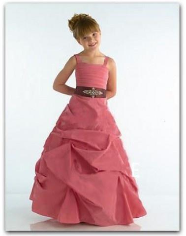 Hot Sell A-Line/Princess Floor-Length Taffeta Flower Girl Dress with Ruffle Sash Beading (010002138)