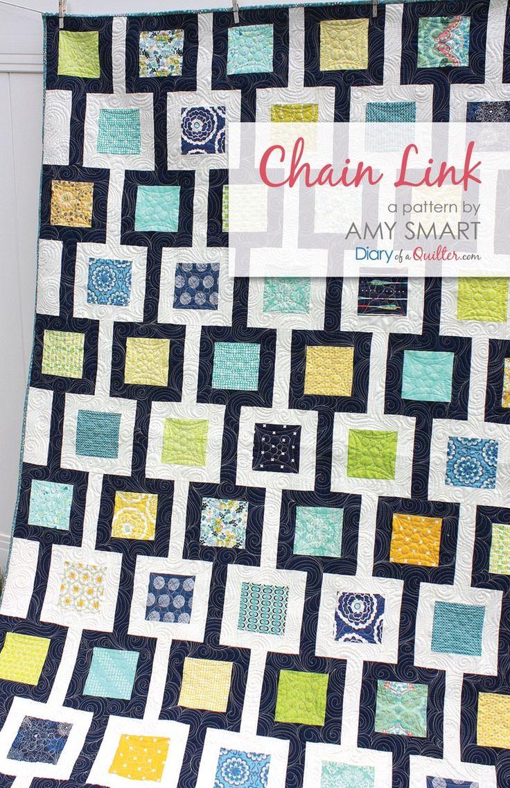 Chain Link Quilt Pattern PDF - Charm Pack friendly moder quilt.  Easy, beginner-friendly quilt pattern.