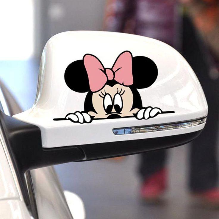 Etiqueta Engomada Del Coche divertido Lindo Mickey Minnie Mouse Cubierta Asomando Arañazos Espejo Retrovisor de Dibujos Animados Etiqueta Para La Motocicleta Vw Bmw Ford Kia