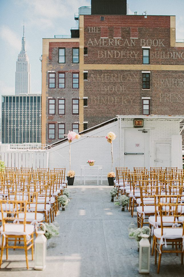 This pink and gold rooftop wedding is stunning.