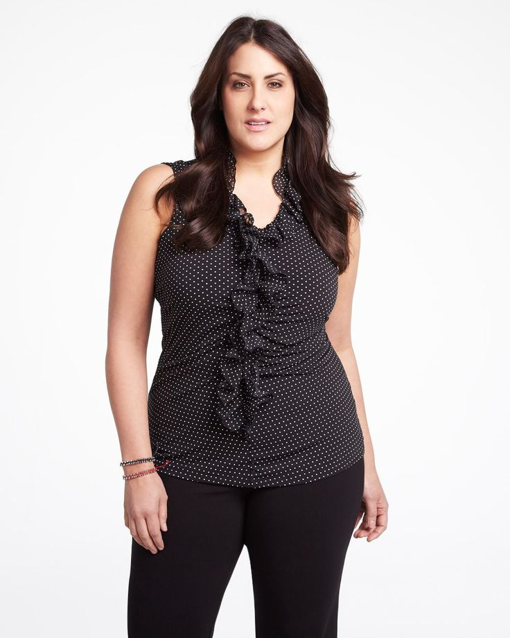polka dot ruffle top  #AdditionElle $49.99