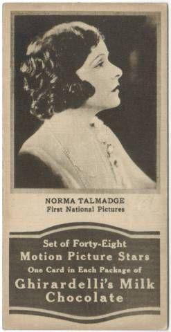 1920's Norma Talmadge Ghiradellis Chocolate Trading Card