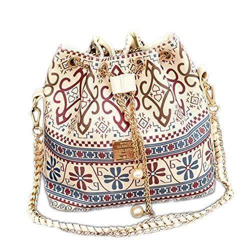 Oferta: 15.99€. Comprar Ofertas de DELEY Mujer Étnicos Cadena Lazo Paño Bolsa De Cubo Bolso De Hombro Bucket Bag Blanco barato. ¡Mira las ofertas!