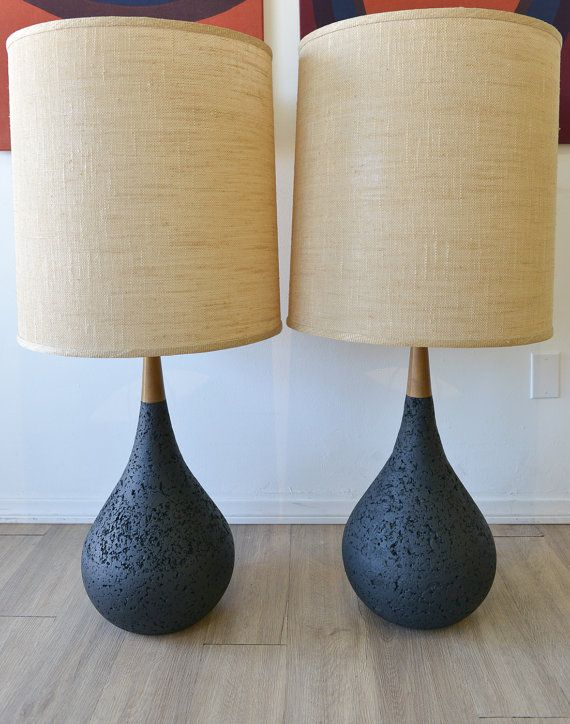 pair of mid century cork and wood lamps with original linen shades unique table - Unique Table Lamps