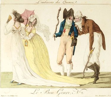Incroyables and Merveilleuse French fashion which represented a parody of aristocratic fashion. Women wore long flowing dresses with low cut necklines & men wore tight trousers & drastic cravats