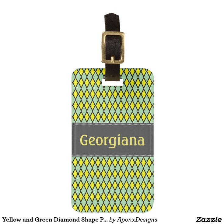 Yellow and Green Diamond Shape Pattern + Name