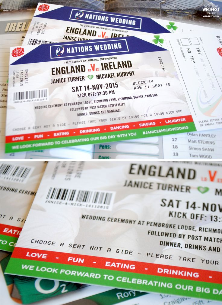 Ireland vs England rugby ticket wedding invitation http://www.wedfest.co/ireland-vs-england-rugby-ticket-wedding-invitations/