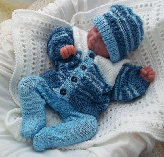 Baby Knitting Pattern -  Boys, Girls or Reborn Dolls Digital Download PDF Knitting Pattern - Jacket, Hat & Footed Leggings