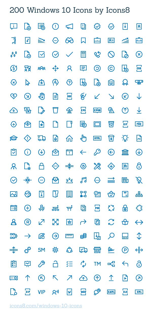 200 Windows 10 Icons | GraphicBurger