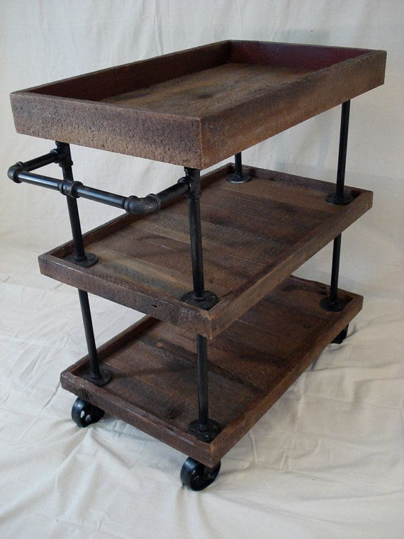 Retro Utility Cart by RetroWorksStudio on Etsy, $650.00 or make with pipes trays, and wheels