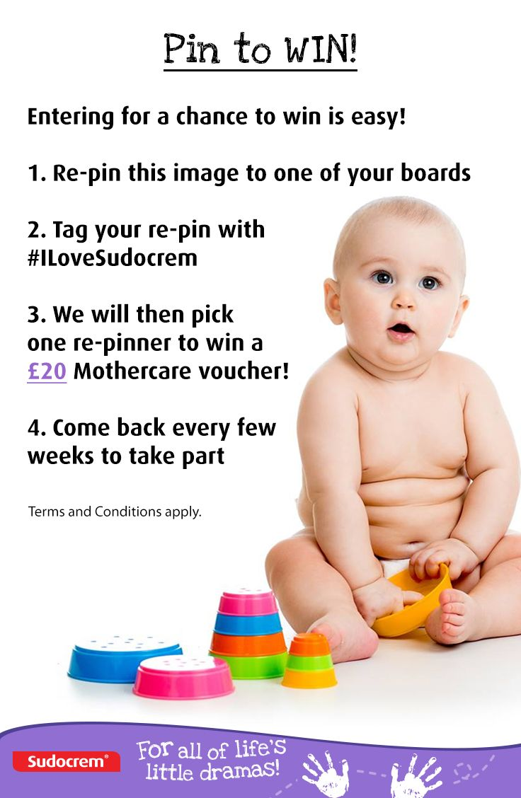 Follow us on Pinterest to take part!  1. Re-pin this competition piccie to one of your boards 2. Tag your re-pin with #ILoveSudocrem 3.We will then pick one re-pinner to win a £20 Mothercare voucher   Terms and conditions can be found here: http://bit.ly/SUDOPINTOWIN