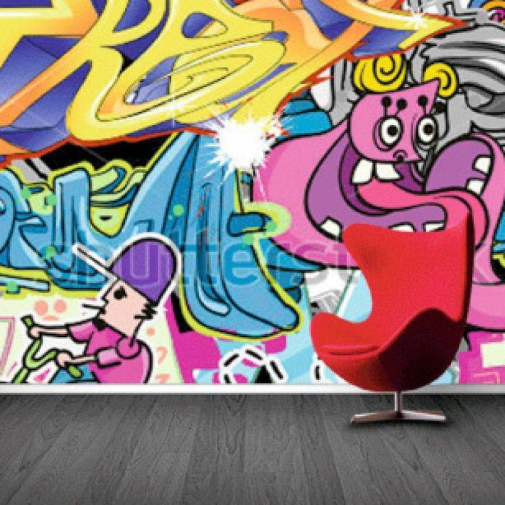 Fotobehang Graffiti   Maak het jezelf eenvoudig en bestel fotobehang voorzien van een lijmlaag bij YouPri om zo gemakkelijk jouw woonruimte een nieuwe stijl te geven. Voor het behangen heb je alleen water nodig!   #behang #fotobehang #print #opdruk #afbeelding #diy #behangen #graffiti #kunst #art #kleuren #kleur #tiener #tienerkamer
