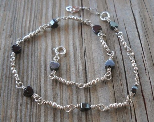 Handmade 925 Sterling Silver Hematite Heart Anklet | pavlos - Jewelry on ArtFire