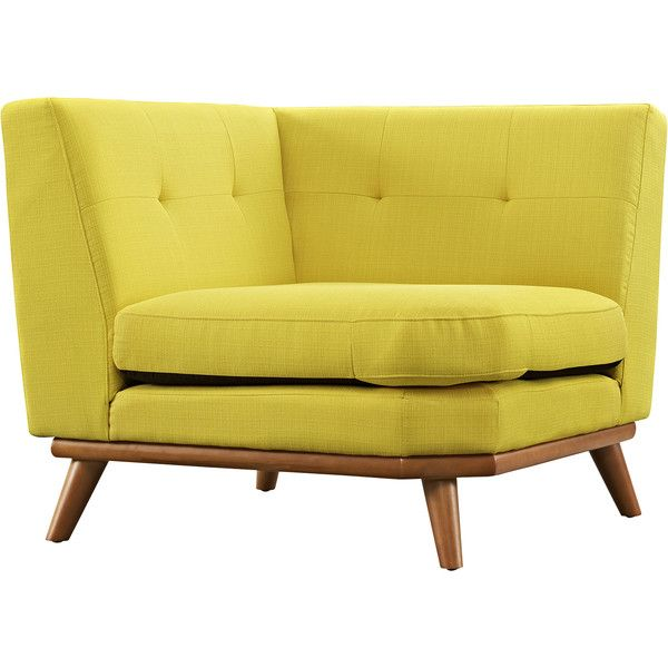 Dot & Bo Spiers Corner Sofa - Yellow (6465 MAD) ❤ liked on Polyvore featuring home, furniture, sofas, mid century modern couch, mid century couch, mid-century modern furniture, mid century sofa and mid century style furniture