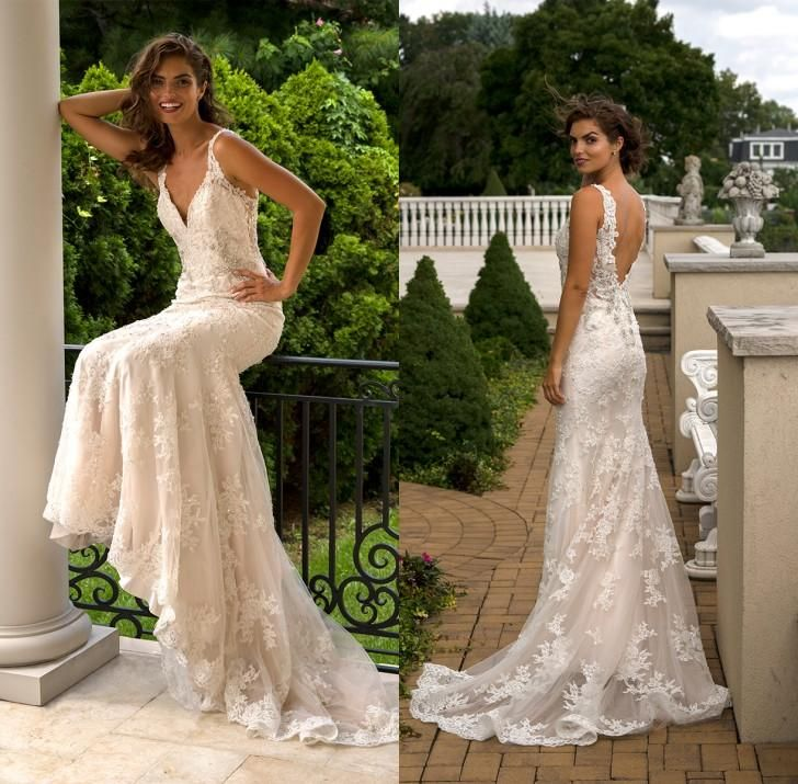 New 2016 Exquisite Lace Mermaid Wedding Dresses Sexy V Neck Backless Beaded Appliques Tulle Garden Bridal Gowns Sweep Train Discount Bridal Gowns Dresses Wedding